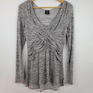 ASTARS Long Sleeve Ruched V Neck Top Size M